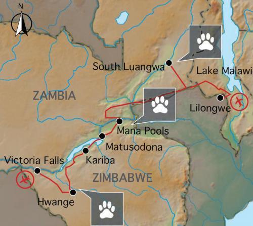 Reiseverlauf: 3-Länder-Pionier-Route - 23-tägige Abenteuer Expedition durch Simbabwe