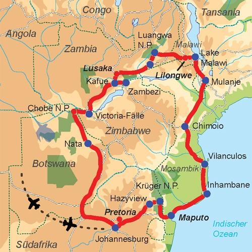 Karte & Reiseverlauf 28-tägige Rundreise durch Afrika