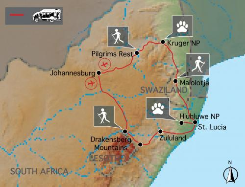 Reiseverlauf der Afrika Wandertour: Südafrika & Swasiland Wanderreise