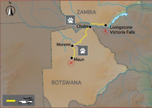 Reiseverlauf: Botswana Nationalparks - Botswana Camping Safari zu den schönsten Nationalparks