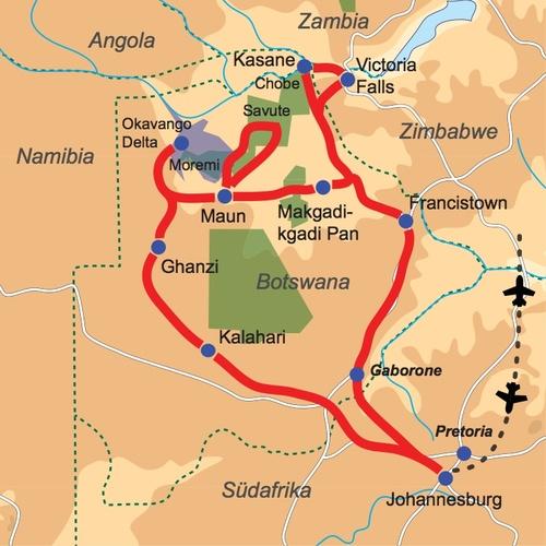 Karte & Reiseverlauf 20-tägige Abenteuerreise durch Botswana & Simbabwe