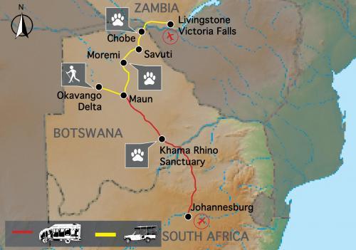 Reiseverlauf: Botswana Wildside & Rhinos - 17-tägige Zelt Safari durch das Naturparadies Botswana