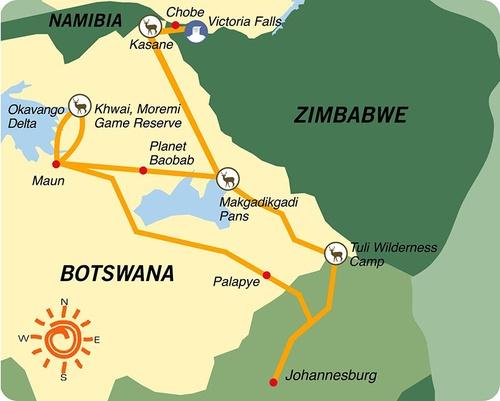 Karte & Reiseverlauf 17- tägige geführte Campingreise ab/bis Johannesburg - Botswana-Zimbabwe Adventure
