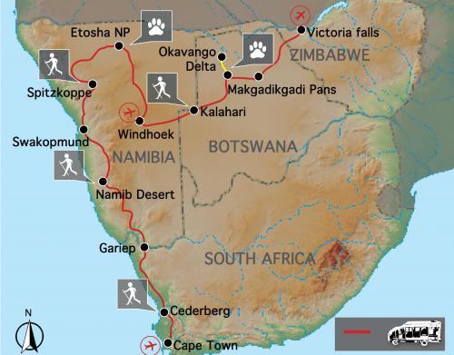 Reiseverlauf: Cape to Victoria Falls – Explorer - 24-tägige Südafrika