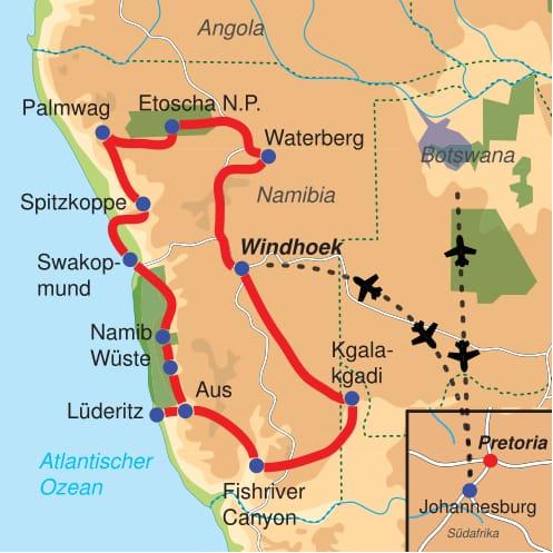 Karte & Reiseverlauf Magisches Namibia - 19 tägige Abenteuerreise und Camping Safari Tour durch Namibia