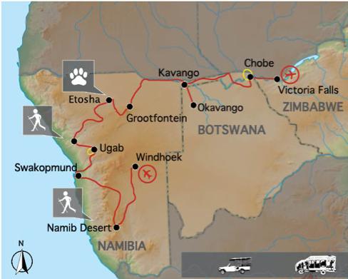 """Reiseverlauf: """"Elephant Track"""" Tour - 18 Tage Namibia & Botswana Rundreise mit Besuch der Victoria Falls"""