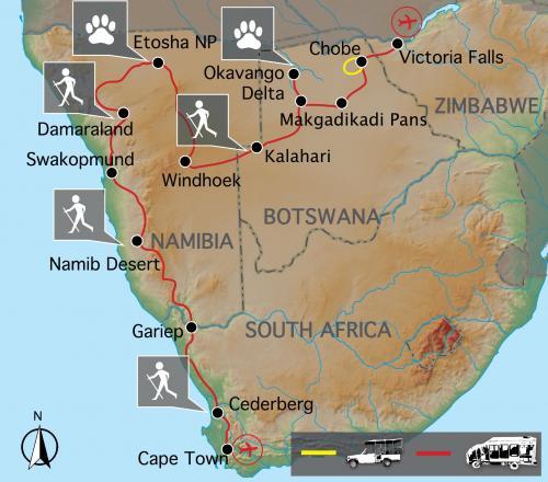 Reiseverlauf Rundreise durch Namibia