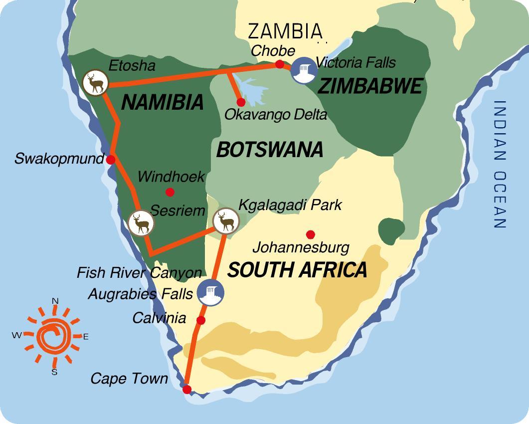 Karte & Reiseverlauf Große Afrika Tour nach Süden - 24-tägige geführte Afrika Camping Safari von den Victoria Fällen bis Kapstadt