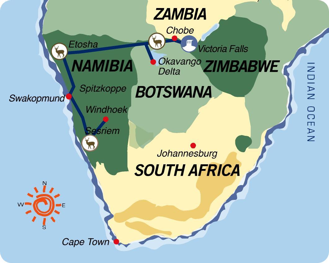 Karte & Reiseverlauf Namibwüste zu den Victoriafällen - 18-tägige geführte Abenteuer Camping Safari ab Windhoek bis Victoria Falls