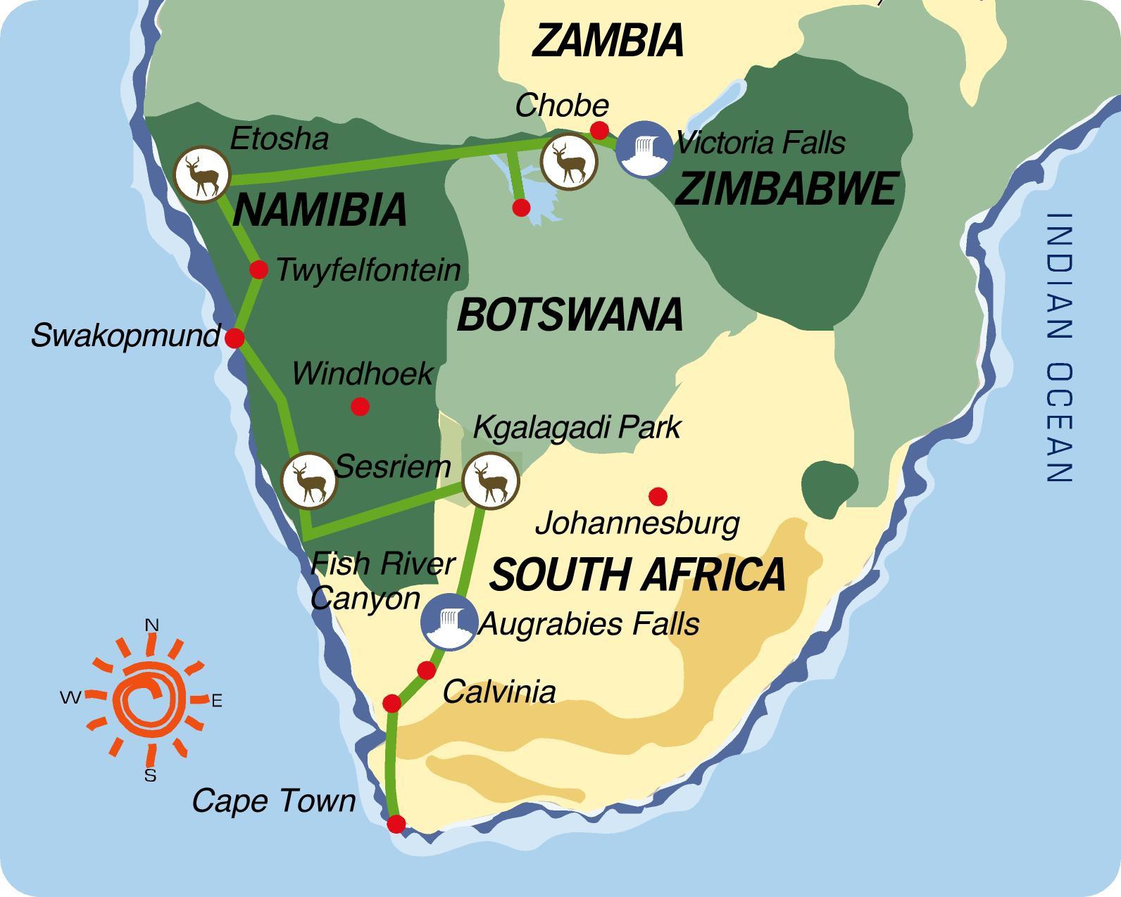 Reiseverlauf: Transkalahari Adventure - Nordtour - 24-tägige Afrika Kleingruppenreise vom Kap bis zu den Viktoriafällen