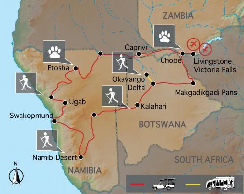 Reiseverlauf Südwestafrika Rundreise: Tour zu den Höhepunkten in Namibia