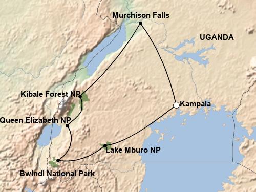 Reiseverlauf Highlights Uganda