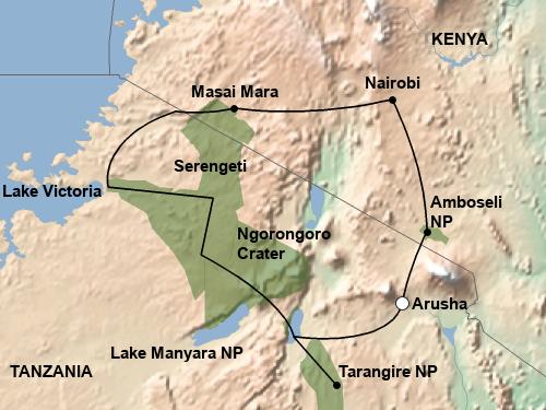 Reiseverlauf Ostafrika Highligjhts
