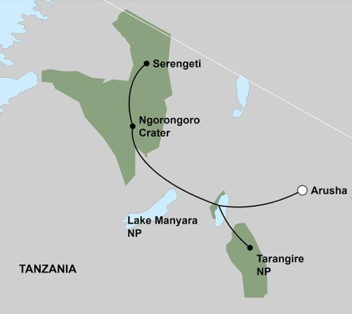 Reiseverlauf Tanzania Wildlife Breakaway