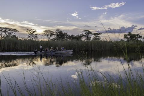 Bootsfahrt auf dem Fluss Kwando im Caprivi Streifen