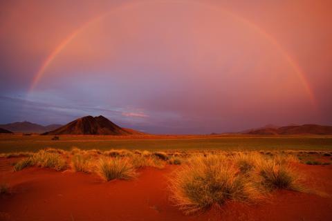 Namib Wüste Sonnenuntergang Panmorama von der Greenfire Desert Lodge aus