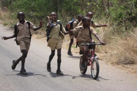 Fröhliche Schulkinder aus Simbabwe auf der Straße nach Harare