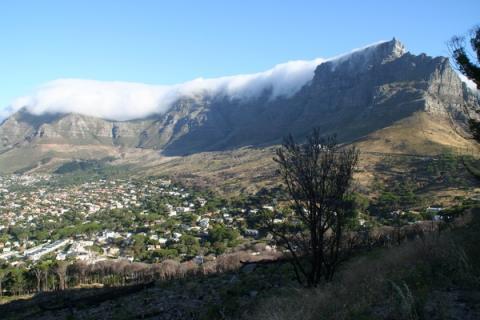 Blick auf den Tafelberg Kapstadts, welcher an der Spitze in Wolken hängt