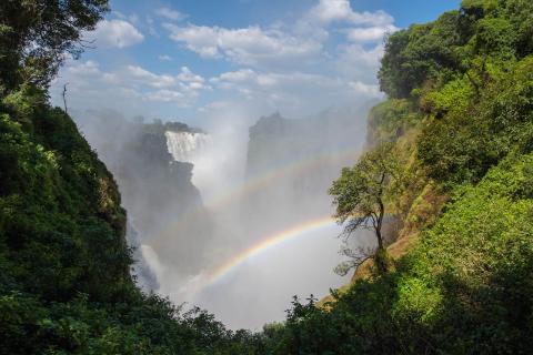 Regebogen über den Victorialfällen in Simbabwe