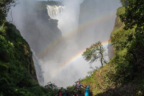 Victoriafälle von Simbabwe aus gesehen