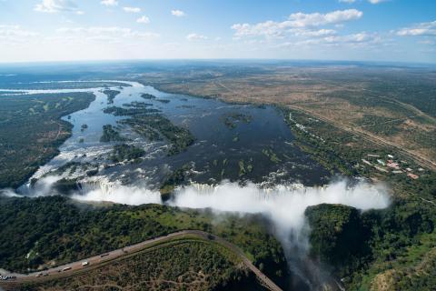 Viktoriafälle Sambia aus der Luft - Panorama