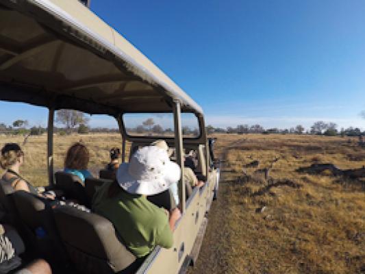 Reisende im offenen Sunway Safari Jeep auf der Suche nach Wildtierbeobachtungen