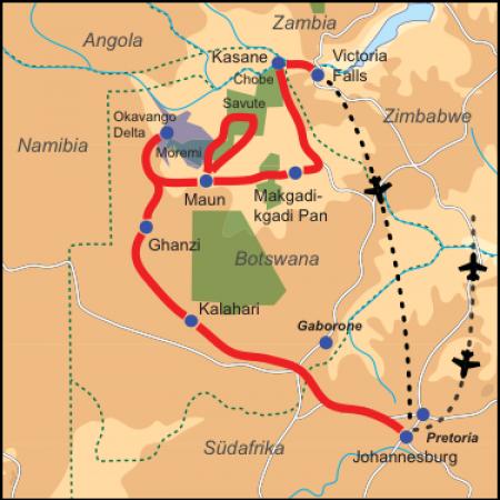 Karte & Reiseverlauf 18-tägige Botswana-Simbabwe Safari