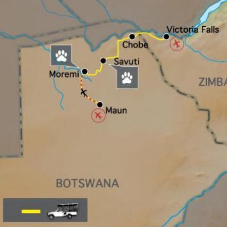 Reiseverlauf: Botswana Baobabs - Lodge Safari durch die Wildnis Botswanas