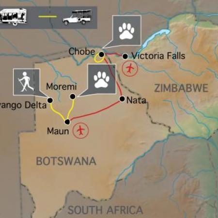 Reiseverlauf: Botswana Wildparks - Botswana Erlebnisreise zu den den schönsten Wildparks