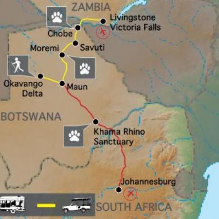 Reiseverlauf: Botswana Wildside