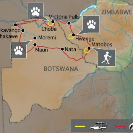 Reiseverlauf: Elfenbein Route - Afrika Tour für Entdecker durch Botswana