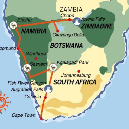 Karte & Reiseverlauf Great Trek - Northbound Adventure - 24-tägige geführte Camping Reise ab Kapstadt bis Victoria Falls