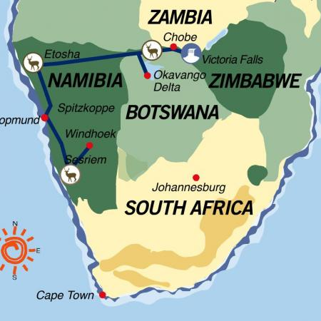 Karte & Reiseverlauf Von den Viktoriafällen in die Namibwüste - 18-tägige geführte Abenteuer Camping Safari ab Victoria Falls bis Windhoek