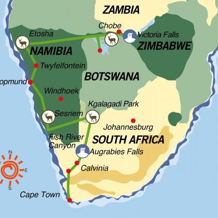 Reiseverlauf:Transkalahari Adventure -  Erlebnisreise von den Viktoriafällen bis nach Kapstadt