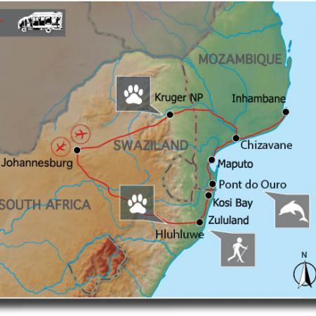 Reiseverlauf: Krüger Park & Mosambik – Wildlife & Beach Tour