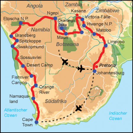Reiseverlauf Afrika Safari Traum Safari Expeditionstruck 4 Länder Tour - Lodge