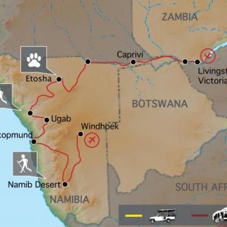 Reiseverlauf Kleingruppenreise durch Namibia und zu den Victoriafällen