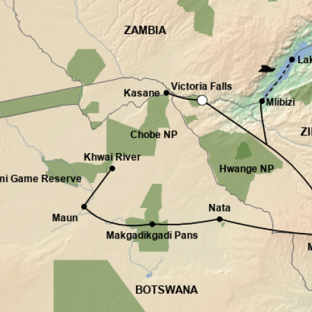Reiseverlauf Wildtiere Safari Botswanas & Simbabwes