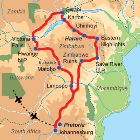 Karte & Reiseverlauf Simbabwe - Camping Safari