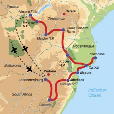 Reiseverlauf & Karte: Southern Highlights - Abenteuerreise durch Südafrika, Lesotho, Swasiland, Mosambik und Simbabwe