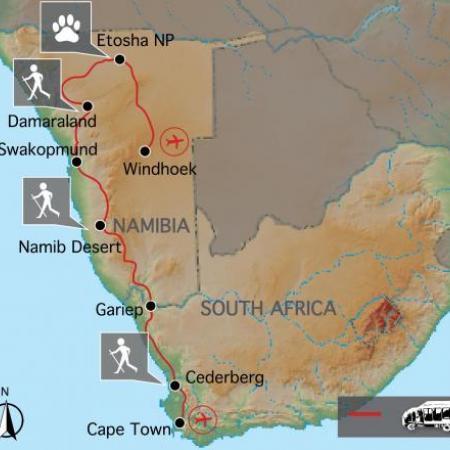 Reiseverlauf der kombinierten Afrika Reise durch Südafrika und Namibia