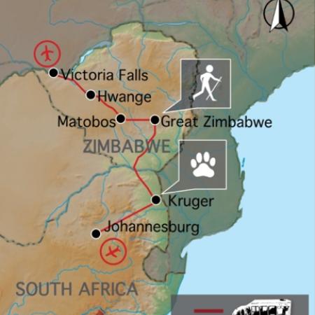 Reiseverlauf: Südafrika & Simbabwe Game Tracker - Safari durch das Südliche Afrika: Reise nach Südafrika & Simbabwe