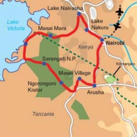 Karte & Reiseverlauf 14-tägige Camping Safari durch Kenia und Tansania